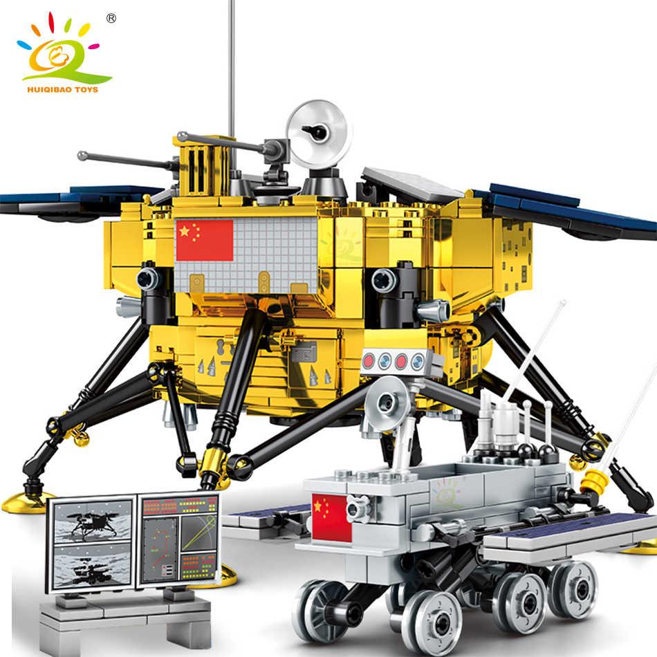 HUIQIBAO, 702 Uds., bloques de construcción de la sonda del espacio Lunar Lander, figura de astronauta de 2 en la ciudad, juguetes de bloques de modelismo aeroespacial para niños, amigo