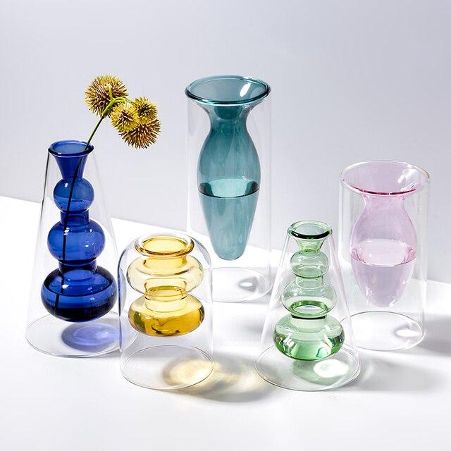 Home decoration accessories Nordic style Colourful Glass Transparent Vase Flower Arrangement Hydroponic Aquaculture Bottle Table 1