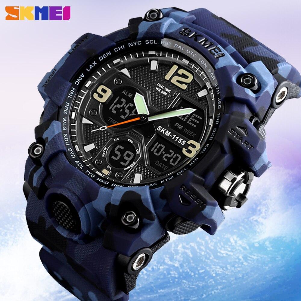 SKMEI Top Luxury Men's Quartz Watch Military Sport Analog LED Digital Wristwatch Outdoor Waterproof Male Clock Relogio Masculino
