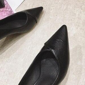 Image 3 - 2020 נשים משאבות אביב סתיו נשים גבוהה עקבים נעלי אופנה נשי 6cm העקב משרד גבירותיי להחליק על עבודה נעליים הנעלה שחור