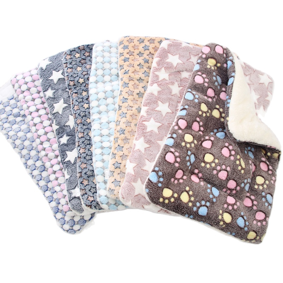 Reversible Fleece Dog Blanket Cushion ,Pets Mat Soft Cat Bed with Cute Prints ,Machine Washable Sofa Liner for Puppy Chihuahua