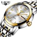 Роскошные Брендовые женские часы LIGE, модные креативные женские деловые наручные часы из розового золота, водонепроницаемые часы Relogio Feminino ...