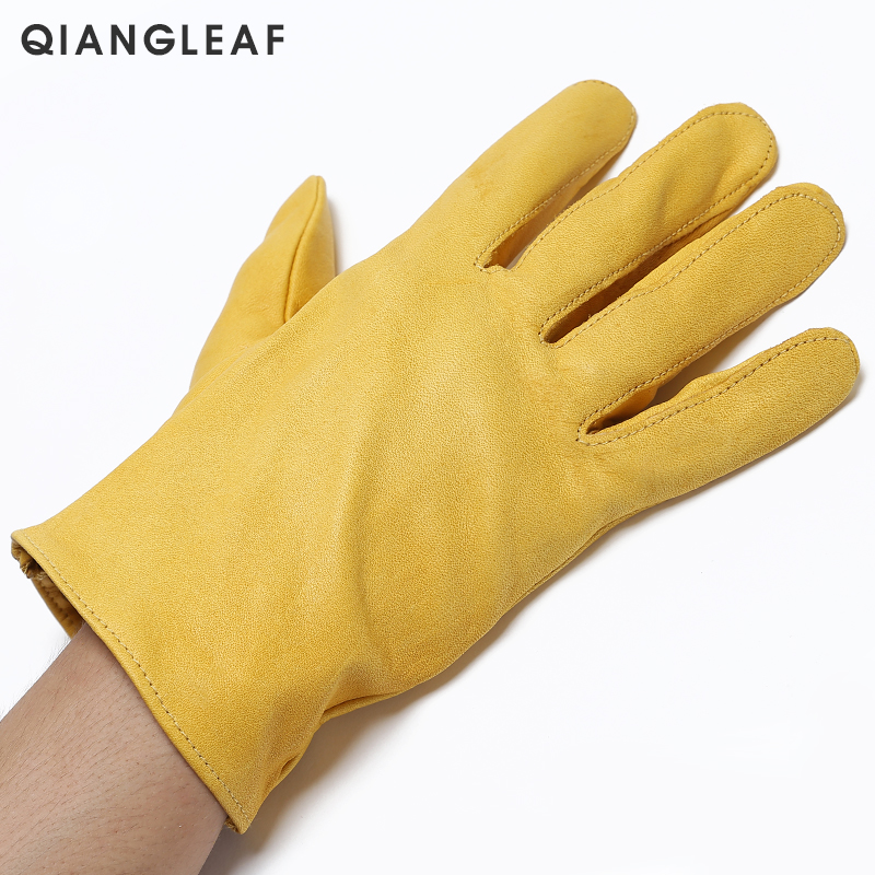 Image 2 - QIANGLEAF Brand New Yellow Work Drivers Gloves Gardening Household Work Cowhide Leather Safety Working Glove Men&Women 130NP-in Safety Gloves from Security & Protection