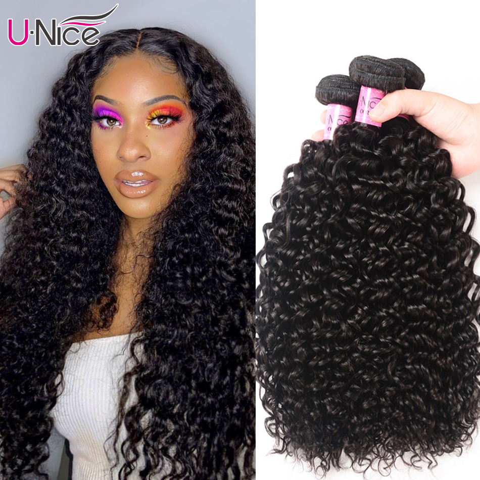 Волосы UNICE Малазийские Вьющиеся переплетенные человеческие волосы для наращивания 1/3/4 шт человеческие волосы пряди 100% Натуральные Цветные ...