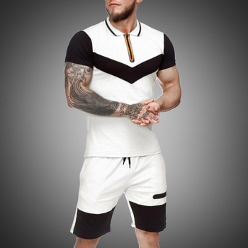 Summer Men Set Sportswear Short Sleeve + Casual Short 2 Piece Set  Thin Track Suits 2020 Mens Fitness Running Sport Sweat Suit 1