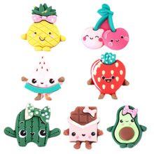 20Pcs Cute Cartoon Fruit Resin Flatback Cabochon Kawaii Strawberry Cherry Pineapple Smile Face Kids Hair Bow DIY Craft