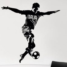 Italia Football Player Wall Sticker Sports Decal Kids Room Decoration Posters Vinyl Car Soccer Player Decal 3d soccer player and goal wall art sticker decal