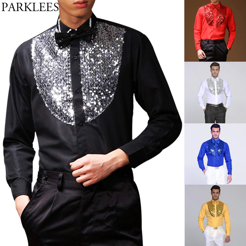 Mens Wing Tip Collar Sequin Patchwork Shirt With Bowtie 2019 Brand New Black Western Cowboy Shirt Men Dance Disco Prom Costume