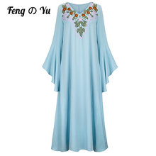 Middle East Ladies Muslim Evening Dress Embroidered Robe Ladies Dress Robe Trumpet Long Sleeve Arabian Party Dress Solid Color
