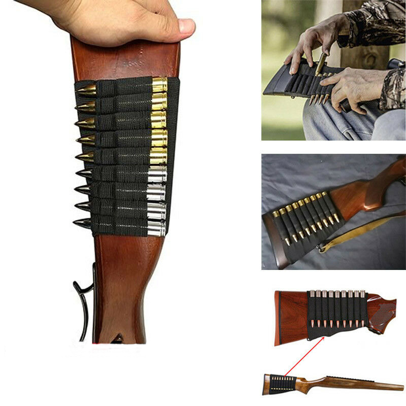 Hunting Gun Accessory Military Gear 5/8/9/14 Rounds Shotgun Buttstock Ammo Pouch Shell Holder Bullet Cartridge Bandolier Free
