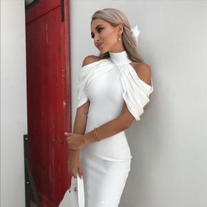Image 3 - Adyce 2020 New Summer Celebrity Evening Party Dress Women Elegant White Off Shoulder Sexy Draped Halter Bodycon Midi Club Dress