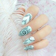 Женские короткие тонкие накладные ногти Ловец снов нажимайте