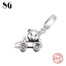 SG lovely bear take the car charms 925 Sterling Silver beads Fit pandora pendant Bracelet silver jewelry making gifts