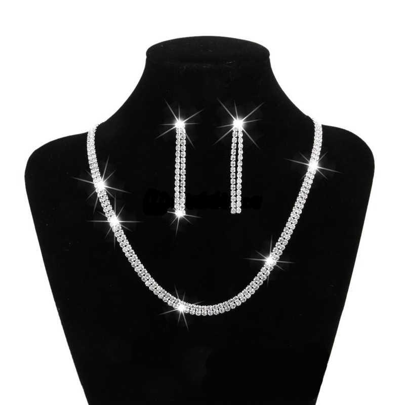 BLANCO CRISTAL estrás plata plateado moda joyería conjuntos Collar conjunto de pendientes collares 2019 para las mujeres