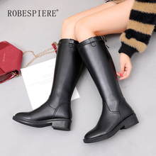 ROBESPIERE Women Black Winter Boots Genuine Leather Warm Plush Shoes Girls Pop Buckle Round Toe Low Heel Knee High Boots B117 skyyue genuine leather round toe low heel women autumn winter women boots buckle strap metal studded women cool boots shoes