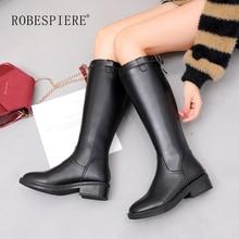 ROBESPIERE Women Black Winter Boots Genuine Leather Warm Plush Shoes Girls Pop Buckle Round Toe Low Heel Knee High Boots B117 недорого