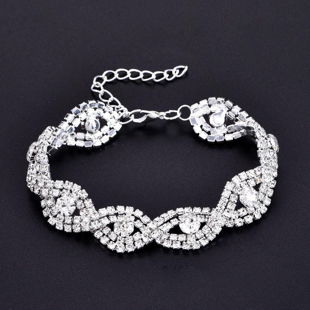 *SILVER /& BLACK* Diamante Rhinestone Ladies Elegant Chain *BRACELET* Bridal Gift