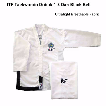 2020 Ultralight White ITF Taekwondo assistant instructor Doboks Adult Embroidery Uniform Martial Arts Kimono for 1-3 Dan Gi - discount item  36% OFF Sportswear & Accessories