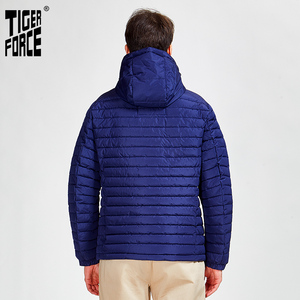 Image 3 - Tiger Force 2020 new arrival men striped jackets with pockets high quality removing hood warm coat outerwear zipper Parkas 50629