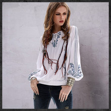 Brand Womens Fall 2009 New Style, Slim Top, Retro Half-necked Cotton and Hemp Embroidered Long Sleeve Shirt