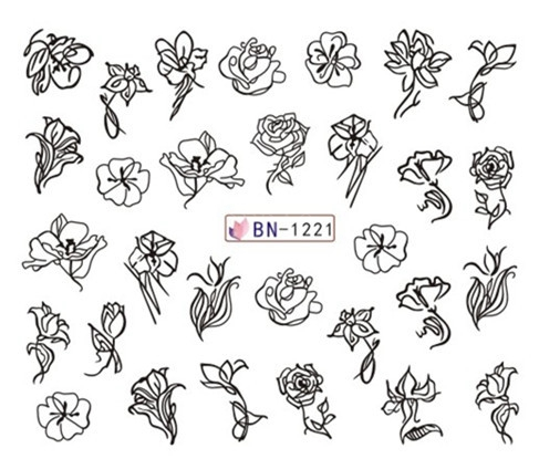 Image 5 - Nail Art Sticker Water Decals Nails Tattoo Slider Stickers Geometric Women Face Designs Decoration Manicure Pegatina Foil Wraps-in Stickers & Decals from Beauty & Health