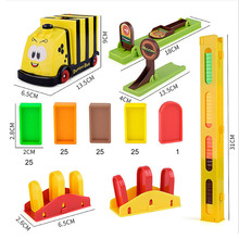 Domino train Education Building Blocks Toy Car Set Trains Automatic Domino Brick Laying Toy Sound Light Elevator Springboard
