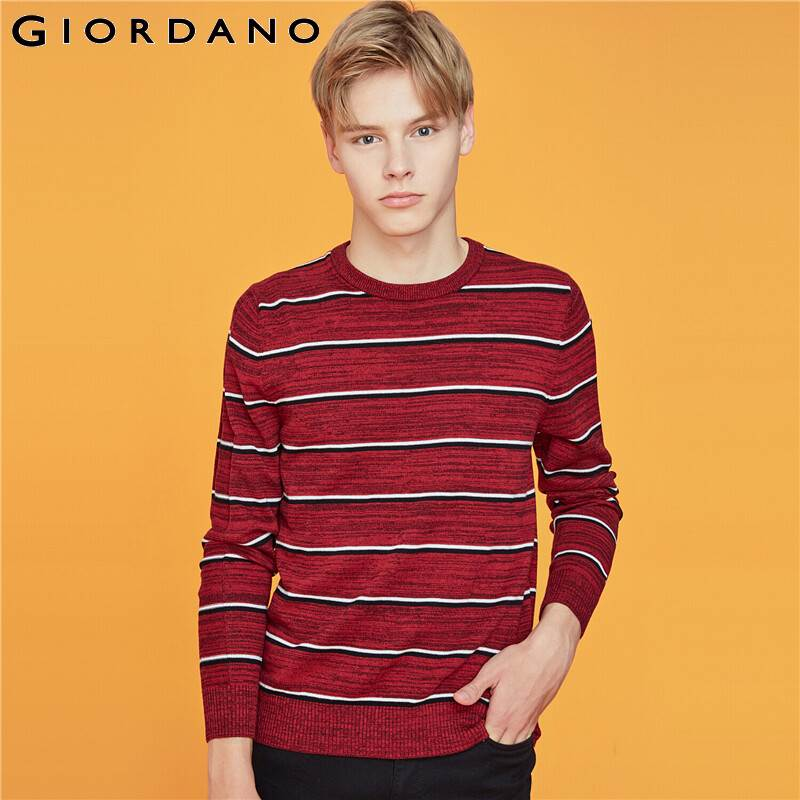 Giordano Men Sweaters Stripe Crewneck Long Sleeve Pullovers 12 Needle Kniting Medium Thickness Chompas Para Hombre 91059881