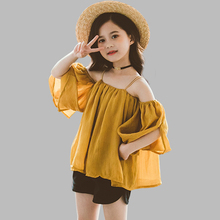 Summer Clothes For Girls Off Shoulder Girls Clothes Blouse + Short 2PCS Kids Clothes Girls Teenage Children #8217 s Clothes Set cheap Abesay Fashion Square Collar Sets Pullover 0485147 COTTON Polyester REGULAR Fits true to size take your normal size Shorts