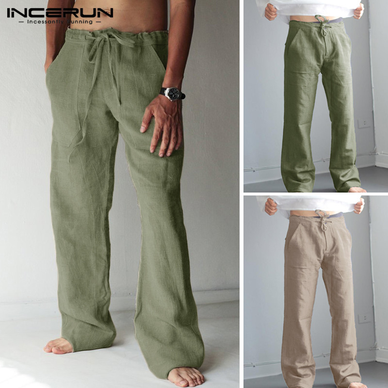INCERUN Men Casual Pants Joggers Drawstring Cotton Solid Vintage Pockets Baggy Straight Trousers Streetwear 2019 S-5XL