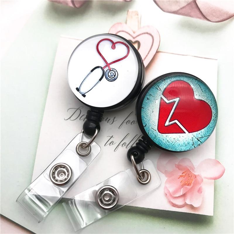 Heart Stethoscope Retractable Nurse Badge Reel Clip ID Name Card Badge Holder Nurse Doctor Exhibition Hospital Office Supplies