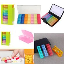 Portable 28 Grids Pills Box Holder Tablet Pill Case Medicine Storage Organizer Healthy Care Tool Rainbow Color with PU Bag