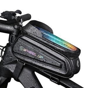 Сумка на переднюю раму для велосипеда Touch Scree, водонепроницаемая сумка для телефона, держатель для руля, большая емкость, велосипедная упако...
