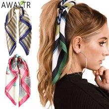 Принтами в полоску шелковый шарф для волос scrunchies с лямками