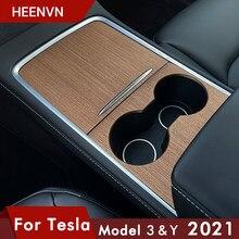 Центральная панель управления Heenvn Model Y Автомобильная Защитная древесина для Tesla Model 3 2021 аксессуары из углеродного волокна ABS патч три