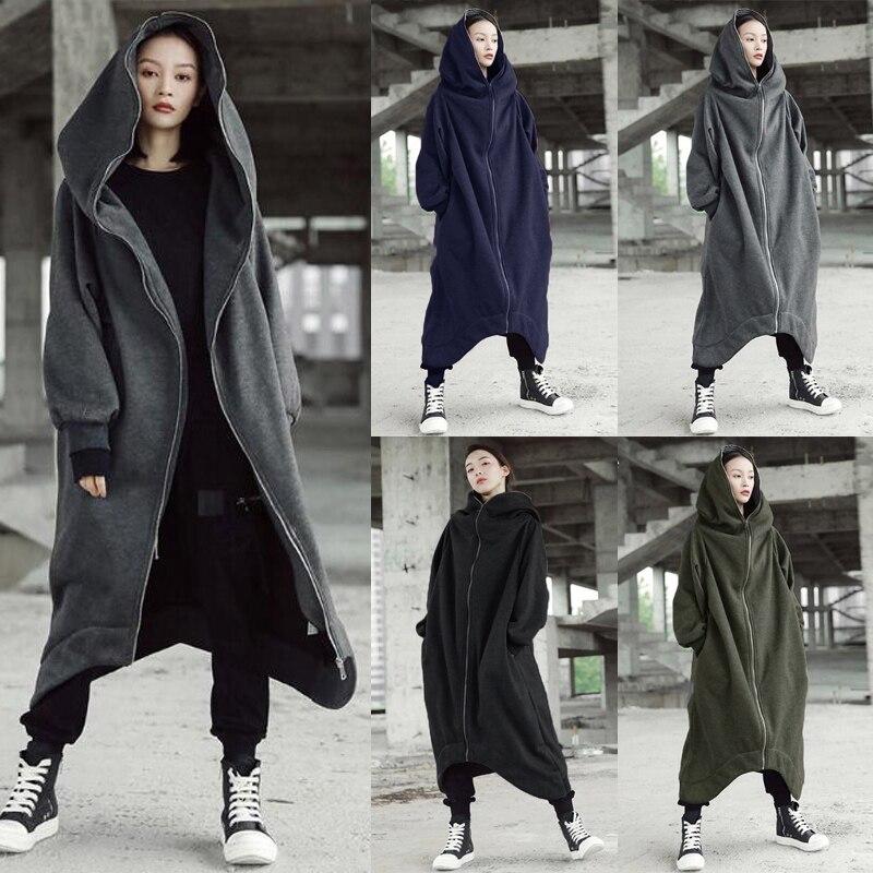Women Hooded Coats Jackets 2019 ZANZEA Plus Size Female Long Sleeve Zip Long Jackets Ladies Winter Outerwear Thin Windbreakers