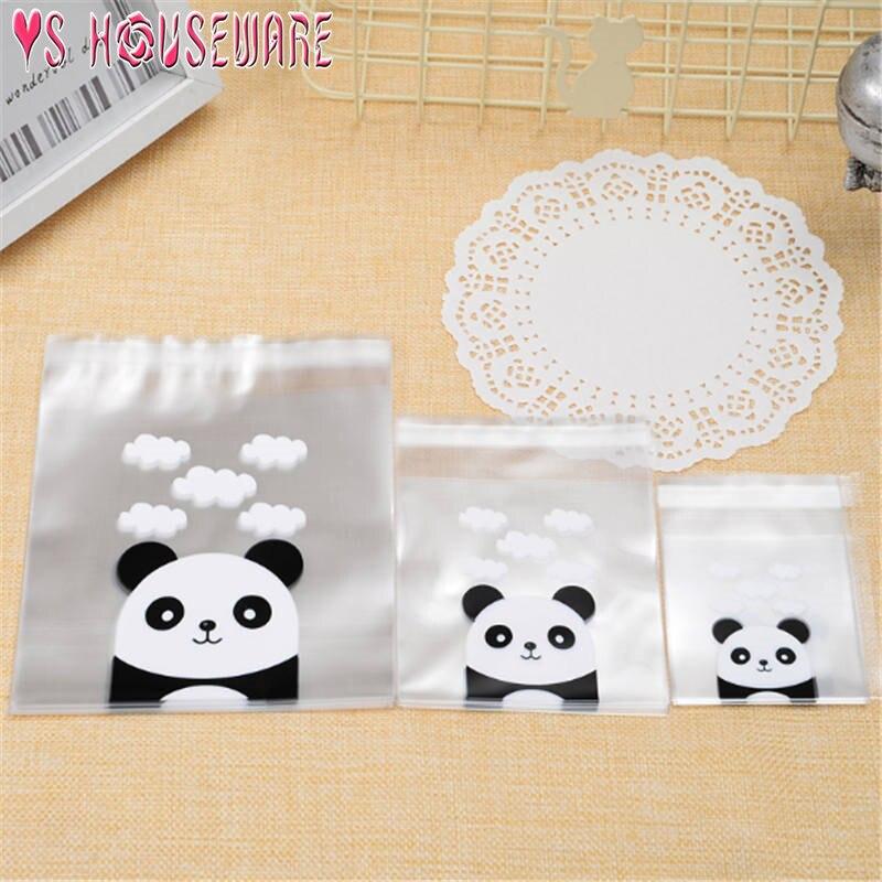 100pcs/lot Self-adhesive Cute Panda Head Candy Bags 3 Sizes Eco-Friendly Plastic Bags Party Festival Decortative Gift Bag June12