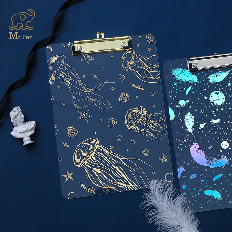 Laser Hot Stamping Starry Sky Document File Folder A4 Board Clip Kawaii Stationery Plastic Writing Hard Board School Supplies