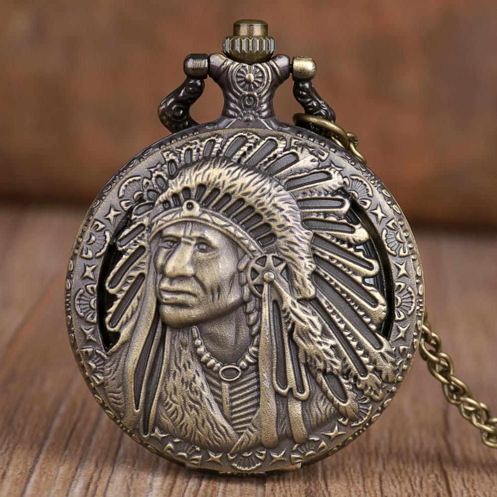 Vintage Exquisite Design Ancient Native Indian Pattern Pocket Watch Large Quartz Pocket Watch Gift