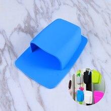 Suporte de escova de dentes de silicone banheiro organizador de armazenamento fixado na parede pequenos artigos de higiene pessoal chuveiro organizador navalha (azul)