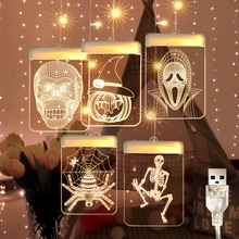 USB Halloween Pattern Light Hunted House Decoration 3D Acrylic Sign Lamp Wall Hanging Fairy Lighting