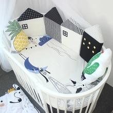 4 шт. Детская кровать бампер детская колыбель Детские бортики для кроватки Удобная Защита Детские подушки кровать забор Милый хлопковый Комбинированный дом
