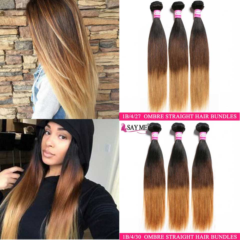 Lace Frontal Closure With Bundles Ombre Brazilian Human Hair Weave 3 Bundles With Frontal Closure NonRemy Straight Hair Bundles