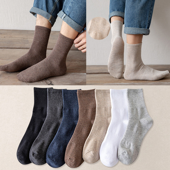 Middle Tube Men Socks Solid Color Rubber String Soft Comfortable Business Socks Cotton Socks Mid-Calf Winter Male Room Socks image