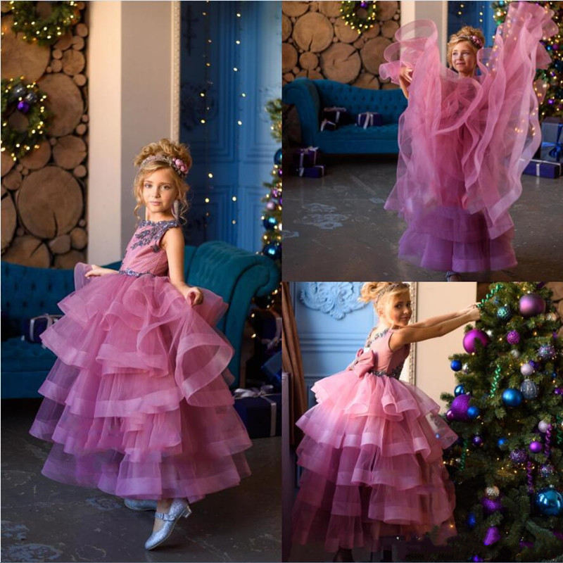 Newest Tiered Tulle Flower Girl Dress With Lace Appliques Ruffles For Special Occasion Sleeveless Custom Made Kids Pageant Gowns