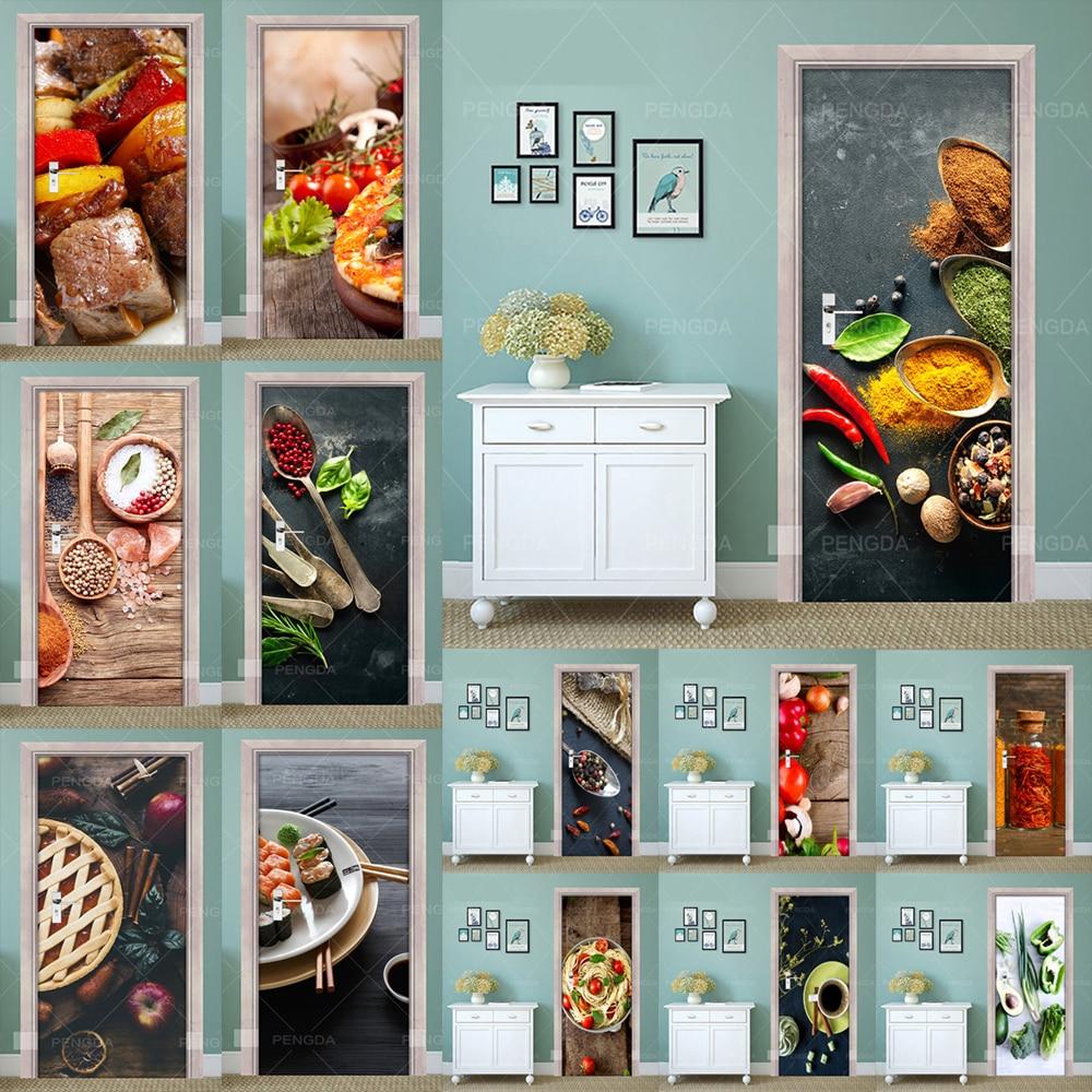 Paper Print Art 3D Renew Door Sticker Season Food Dessert PVC Mural Home Decor Picture Self Adhesive Waterproof Paper Bedroom