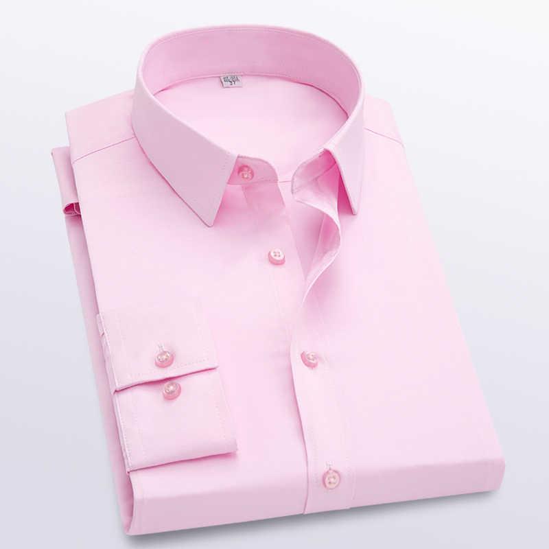 Uomo Modis solido Manica Lunga Camicette Slim Fit Confortevole Camicia A Maniche Lunghe di Affari del Mens Oxford Camicia di Vestito di Usura del Lavoro camicia