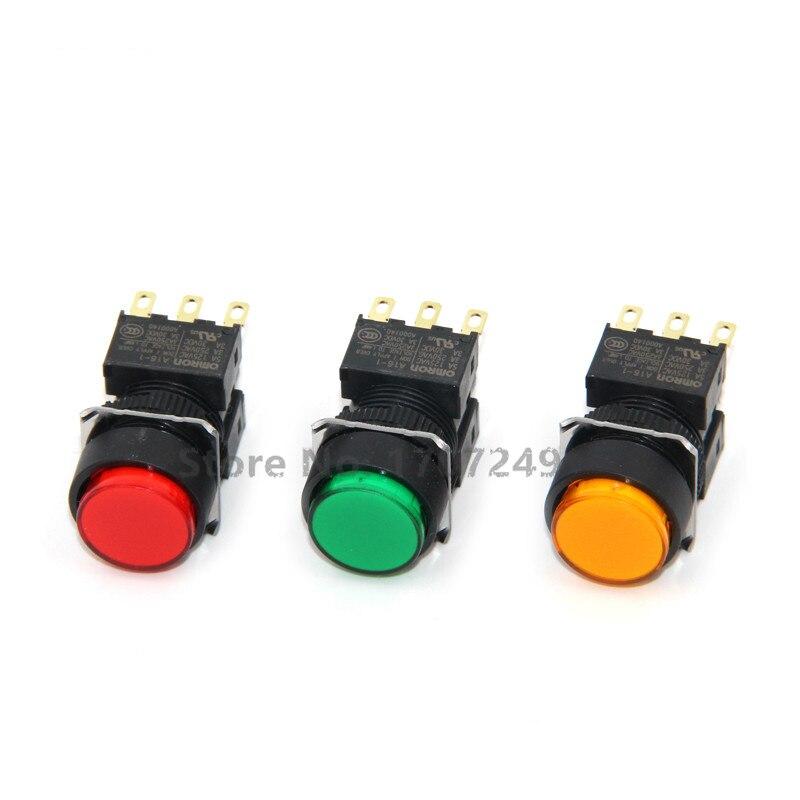 100% nouveau original Omron bouton rond interrupteur A16-1 avec lumière 24V et sans serrure réinitialisation automatique A16L-TGM-24D-1