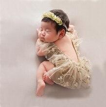 Реквизит для фотосессии новорожденных, шапочка, детский кружевной комбинезон, боди, наряд, платье для фотосессии, костюм для съемок