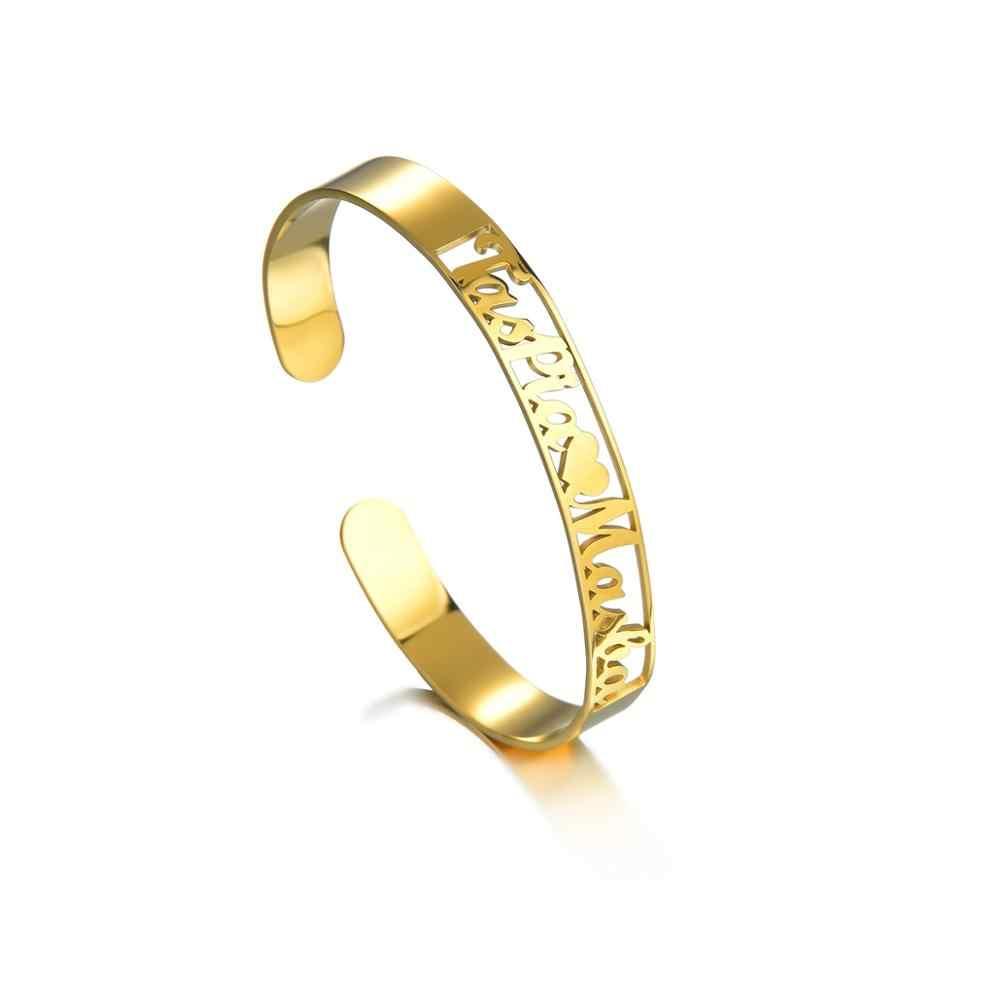 Goxijite персонализированные именные влюбленные 2 имени браслеты для женщин и мужчин браслеты из нержавеющей стали Свадебные украшения подарок