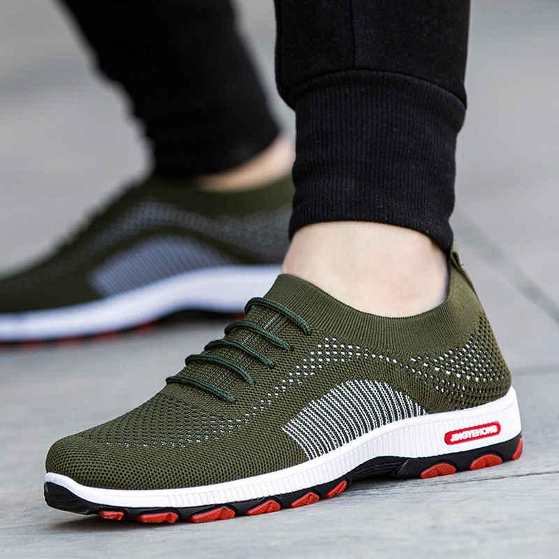 Zapatillas de deporte de Color para hombre al aire libre de moda de alta calidad de marca Bandage transpirables zapatos de malla de letras suaves zapatos de tenis para hombre